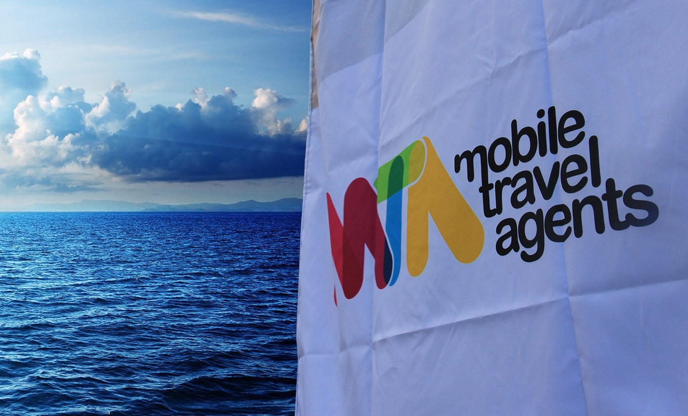 Mobile Travel Agents brand flag design and print by fox design