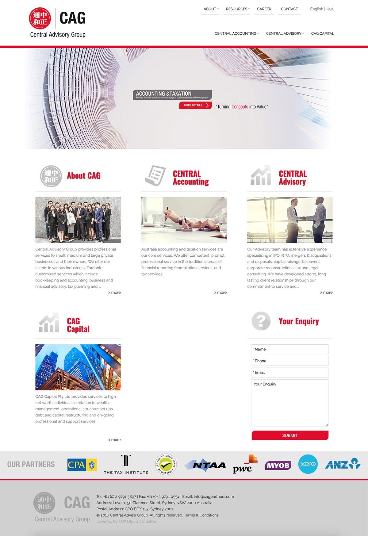 Central Advisory Group website design and maintenance by FOX DESIGN
