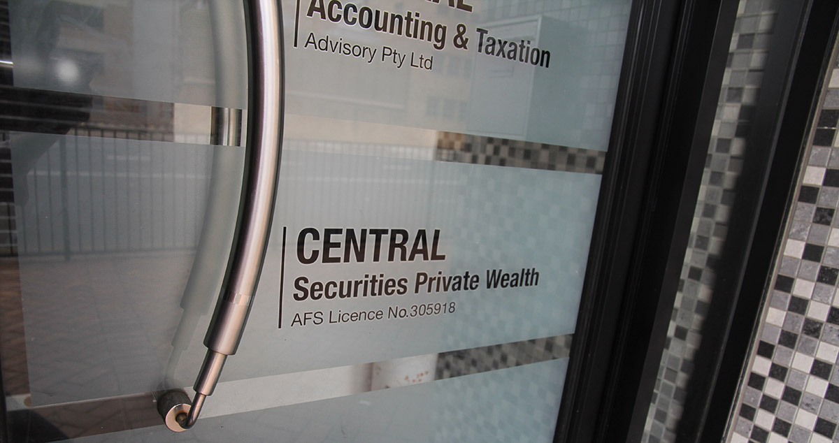CAG frosted vinyl cutting door sign by FOX DESIGN
