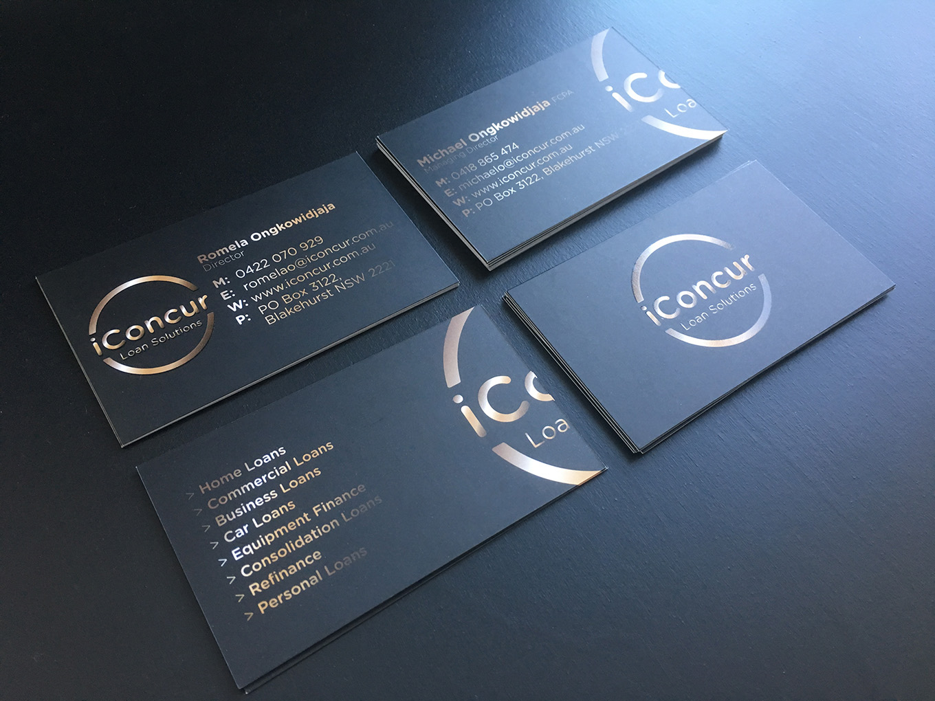 iConcur Loan Solutions logo and business cards design by FOX DESIGN